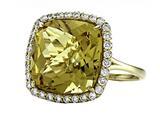 Anti Tarnish Sterling Silver 14mm Cushion Cut Honey Quartz and Round White Sapphire Ring style: 1004H