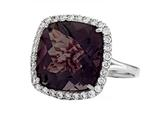 Anti Tarnish Sterling Silver 14mm Cushion Cut Smoky Quartz and Round White Sapphire Ring style: 1004S