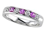 Karina B Round Diamond and Pink Sapphire Band