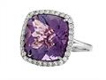 Anti Tarnish Sterling Silver 14mm Cushion Cut Amethyst and Round White Sapphire Ring