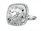 Anti Tarnish Sterling Silver 14mm Cushion Cut White Quartz and Round White Sapphire Ring Style number: 1004