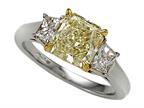 Natural Fancy Yellow Three Stone Hand Made Engagement Ring Style number: 4991