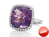 Anti Tarnish Sterling Silver 14mm Cushion Cut Amethyst and Round White Sapphire Ring style: 1004A