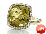 Anti Tarnish Sterling Silver 14mm Cushion Cut Honey Quartz and Round White Sapphire Ring style: 1004H