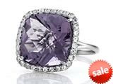 Anti Tarnish Sterling Silver 14mm Cushion Cut Rose De France Quartz and Round White Sapphire Ring style: 1004R
