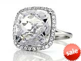Anti Tarnish Sterling Silver 14mm Cushion Cut White Quartz and Round White Sapphire Ring
