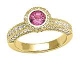 Diamond Round Pave Ring W/Pink Sapphire Round Center