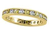 Karina B™ Round Diamond and Yellow Sapphire Eternity Band With Milgrain