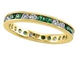 Karina B™ Round Diamond and Tsavorite Eternity Band With Milgrain