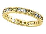 Karina B™ Diamond and Yellow Sapphire Eternity Band With Milgrain