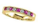 Karina B™ Diamond and Pink Sapphire Band With Milgrain