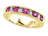 Karina B™ Diamond Baguette and Pink Sapphire Round Band W/milgrain