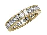 Karina B™ Baguette and Round Diamonds Eternity Band With Millgrain