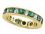 Karina B™ Baguette Diamond and Round Tsavorite Eternity Band With Milgrain