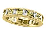 Karina B™ Baguette Diamond and Round Yellow Sapphire Eternity Band With Milgrain