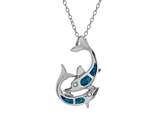 Sterling Silver Simulated Blue Opal Inlay Dolphins Pendant Necklace style: 9255255