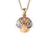 Rose Gold Over Sterling Silver Sealife Seashell Pendant with Created Pink Opal Inlay style: 9255263