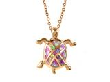Rose Gold Over Sterling Silver Sealife Turtle Pendant with Created Pink Opal Inlay style: 9255266
