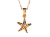 Small Rose Gold Over Sterling Silver Sealife Starfish Pendant with Created Pink Opal Inlay style: 9255516