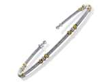Rhodium Finish Silver with Yellow and Rose Finish Moon Cut Beads Cuff Bracelet style: 9255739B