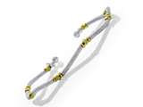 Rhodium Finish Silver with Yellow Finish Moon Cut Beads Wavy Cuff Bracelet style: 9255739C