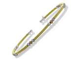 Yellow Finish Silver with Silver and Rose Finish Moon Cut Beads Cuff Bracelet style: 9255739GA