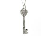 Large Sterling Silver Key Pendant With Cubic Zirconia (CZ) style: 9256449