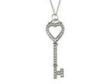 Finejewelers Large Sterling Silver Key Pendant Necklace With Cubic Zirconia (CZ) style: 9256450