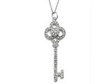 Large Sterling Silver Key Pendant With Cubic Zirconia (CZ) style: 9256512