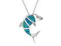 Sterling Silver Simulated Blue Opal Inlay Dolphin Pendant Necklace