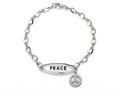 Peace Sign Sterling Silver ID Charm Bracelet with Cubic Zirconia (CZ)