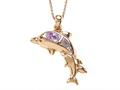 Rose Gold Over Sterling Silver Sealife Dolphins Pendant with Created Pink Opal Inlay