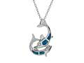 Sterling Silver Simulated Blue Opal Inlay Dolphins Pendant