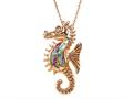 Rose Gold Over Sterling Silver Sealife Seahorse Pendant with Created Pink Opal Inlay