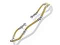 Yellow Finish Silver with Silver Finish Moon Cut Beads Wavy Cuff Bracelet