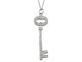 Large Sterling Silver Key Pendant Necklace With Cubic Zirconia (CZ)