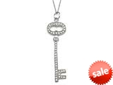 Large Sterling Silver Key Pendant Necklace With Cubic Zirconia (CZ) style: 9256513