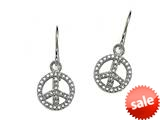 Peace Sign Sterling Silver ID Charm Earrings with Cubic Zirconia (CZ) style: 9257393