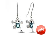 Sterling Silver Simulated Blue Opal Inlay Frog Earrings style: 9259760