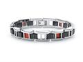 Tonino Lamborghini Primo Collection Stainless Steel Bracelet with Three Red Crystal Stones