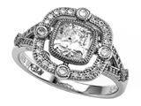 Zoe R™ 925 Sterling Silver Micro Pave Hand Set Cushion-Cut Cubic Zirconia (CZ) Engagement Ring style: BM10460T
