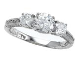 Zoe R™ 925 Sterling Silver Micro Pave Hand Set Cubic Zirconia (CZ) 3 Stone Engagement Ring style: BM10466