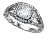 Zoe R™ 925 Sterling Silver Micro Pave Hand Set Cubic Zirconia (CZ) Halo Cushion-Cut Engagement Ring style: BM10484