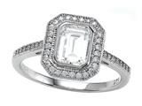 Zoe R™ 925 Sterling Silver Micro Pave Hand Set Cubic Zirconia (CZ) Halo Emerald Cut Center Engagement Ring style: BM10485B