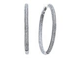 Zoe R™ 3D Sterling Silver Micro Pave Hand Set Cubic Zirconia (CZ) Large Hoop Earrings style: BM20814
