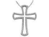 Zoe R™ Sterling Silver Micro Pave Hand Set Cubic Zirconia (CZ) Large Cross Pendant Necklace style: BM30387
