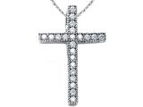 Zoe R™ Sterling Silver Micro Pave Hand Set Cubic Zirconia (CZ) Small Cross Pendant Necklace style: BM30565