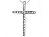 Zoe R™ Sterling Silver Micro Pave Hand Set Cubic Zirconia (CZ) Small Cross Pendant Necklace style: BM30566