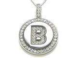 "Zoe R™ Sterling Silver Micro Pave Hand Set Cubic Zirconia (CZ) Letter ""B"" Initial Disc Pendant Necklace style: BM30633B"