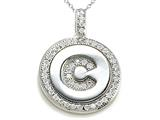 "Zoe R™ Sterling Silver Micro Pave Hand Set Cubic Zirconia (CZ) Letter ""C"" Initial Disc Pendant Necklace style: BM30633C"